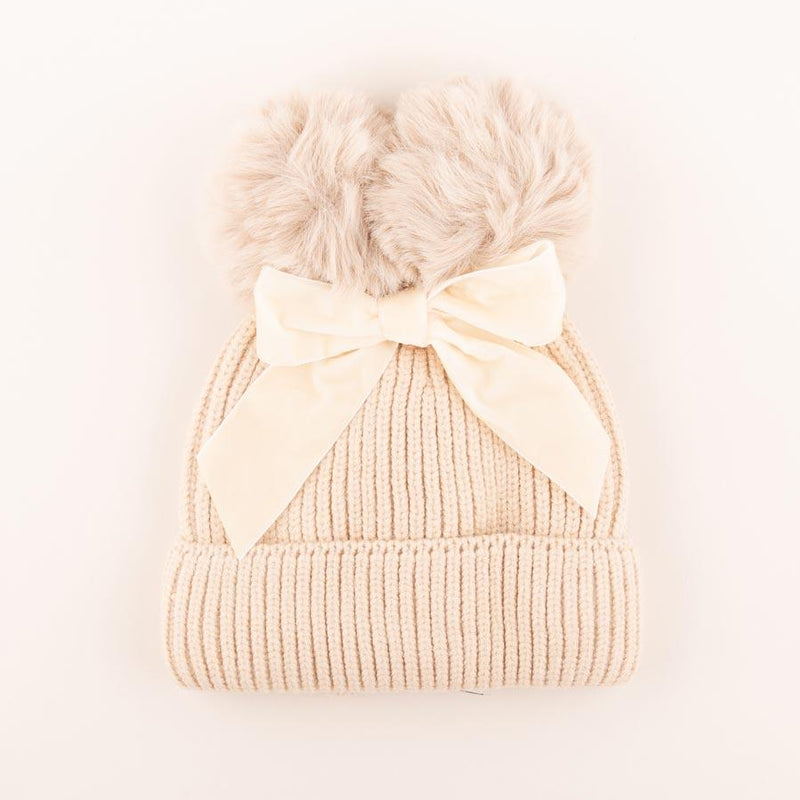 Accessories MULTI / OS Pom Pom Velvet Bow Knit Hat Cloud