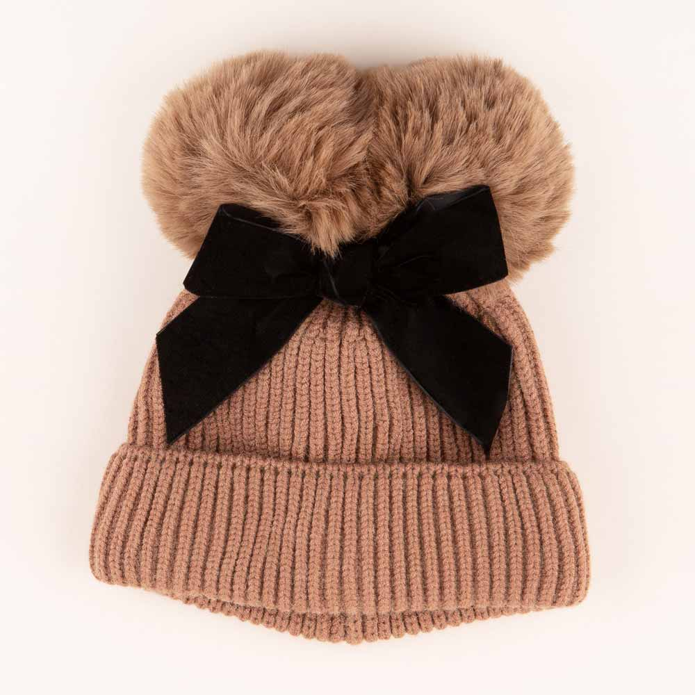 Accessories MULTI / OS Pom Pom Velvet Bow Knit Hat Cocoa