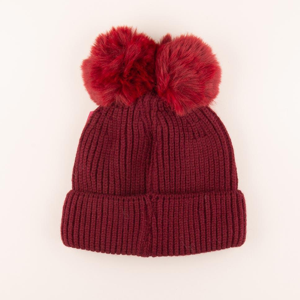 Accessories MULTI / OS Pom Pom Velvet Bow Knit Hat Crimson