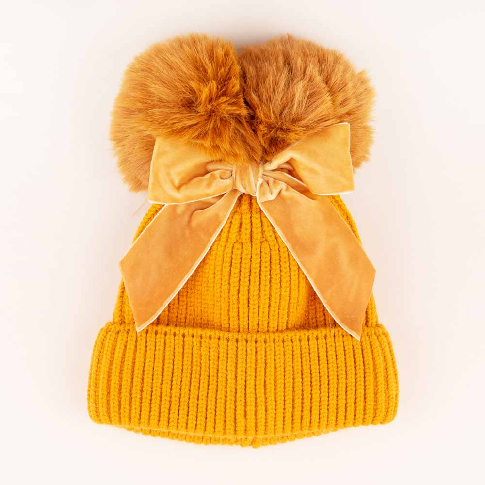 Accessories MULTI / OS Pom Pom Velvet Bow Knit Hat Gold