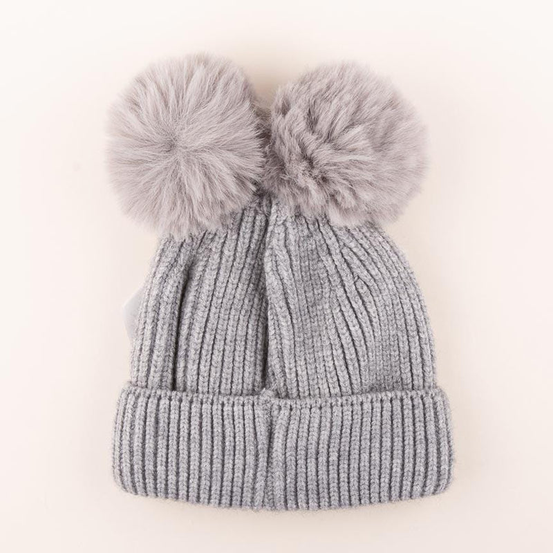 Accessories MULTI / OS Pom Pom Velvet Bow Knit Hat Heather Grey