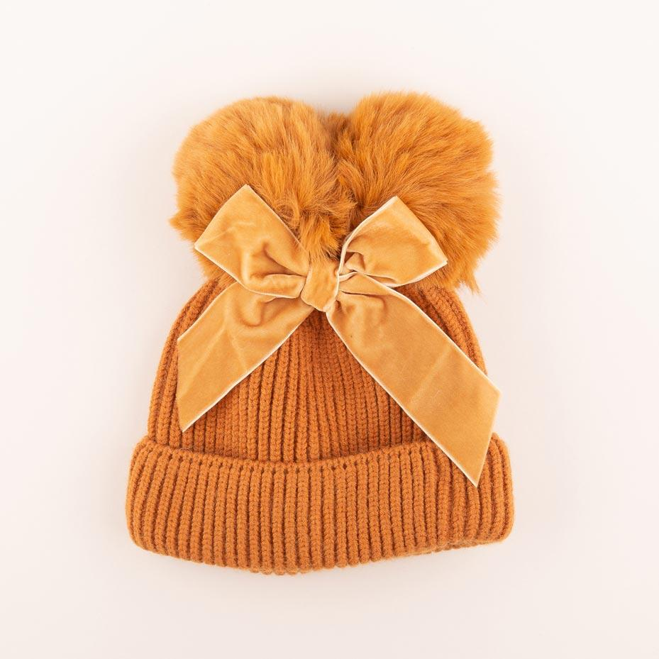 Accessories MULTI / OS Pom Pom Velvet Bow Knit Hat Ochre