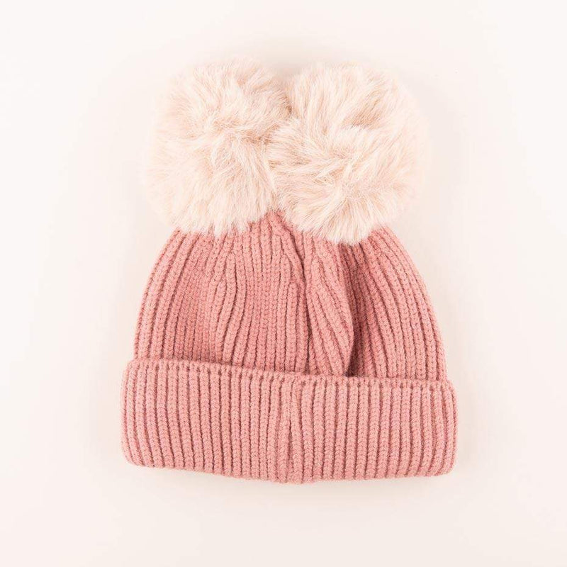 Accessories MULTI / OS Pom Pom Velvet Bow Knit Hat Rose