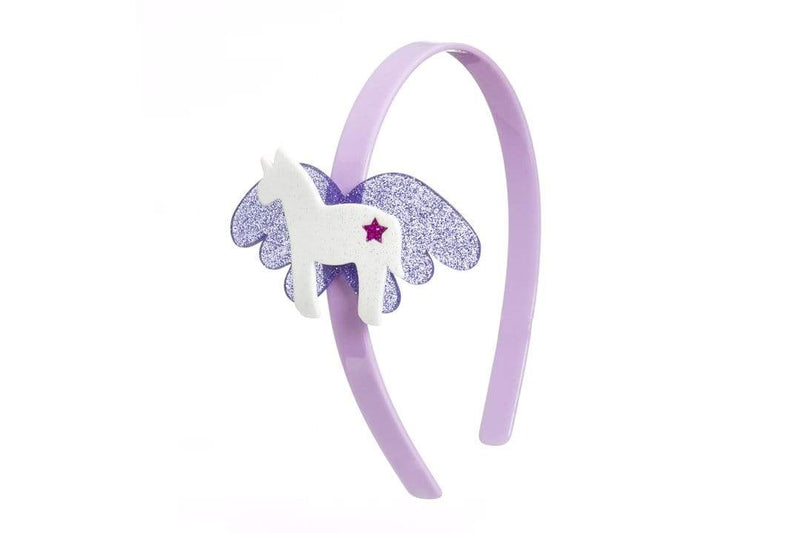 Unicorn Headband White/Purple Glitter