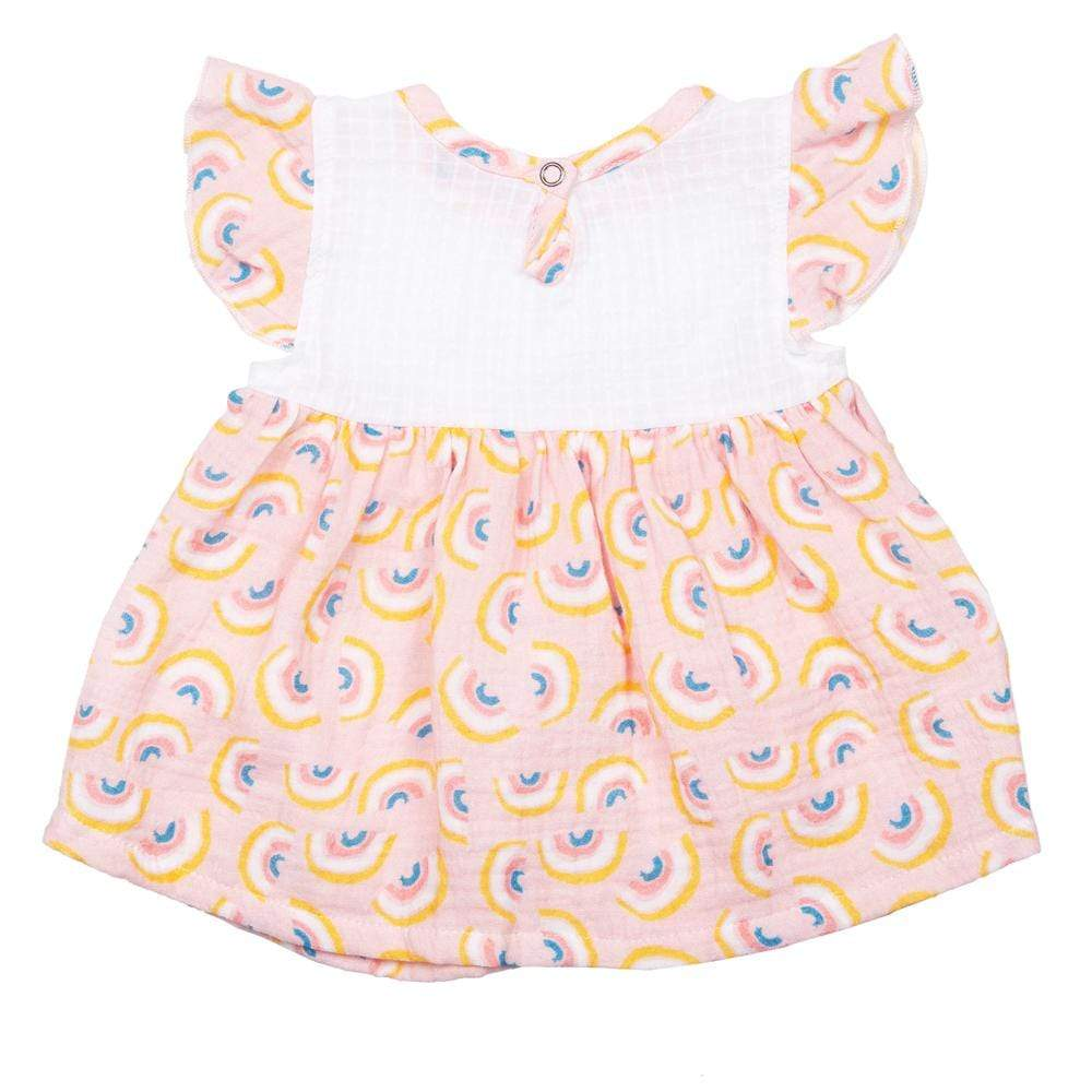 Layette Flutter Dress Rainbow