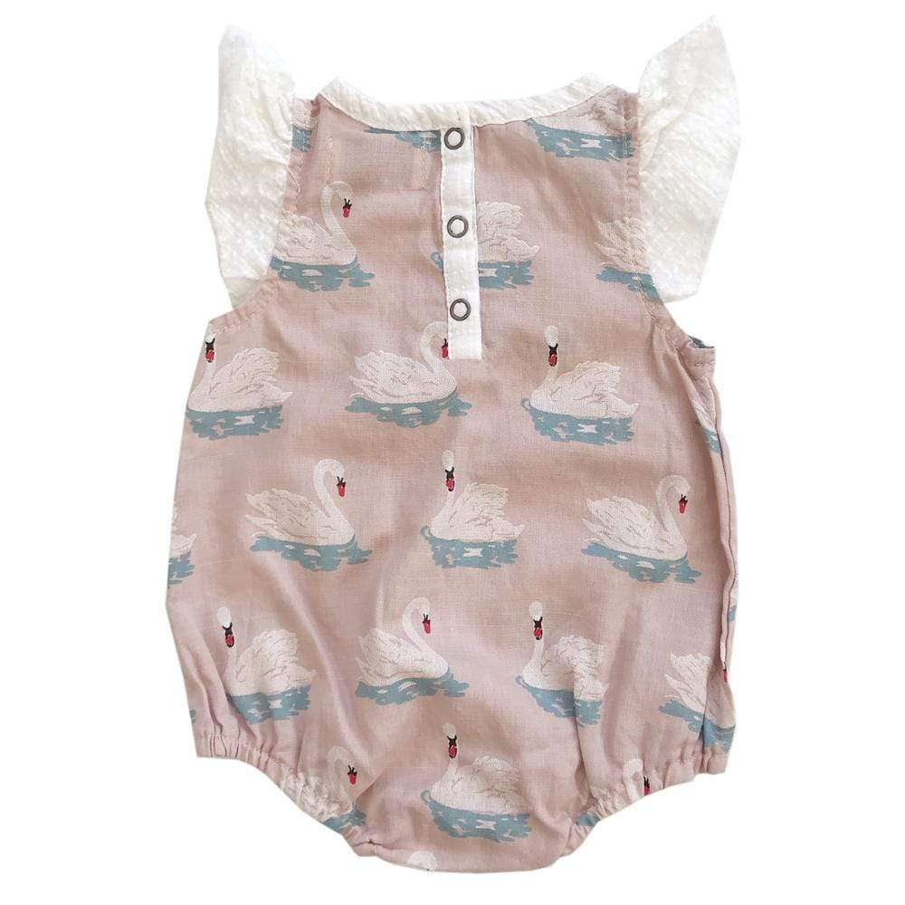 Layette Isidora Bubble Romper Swans