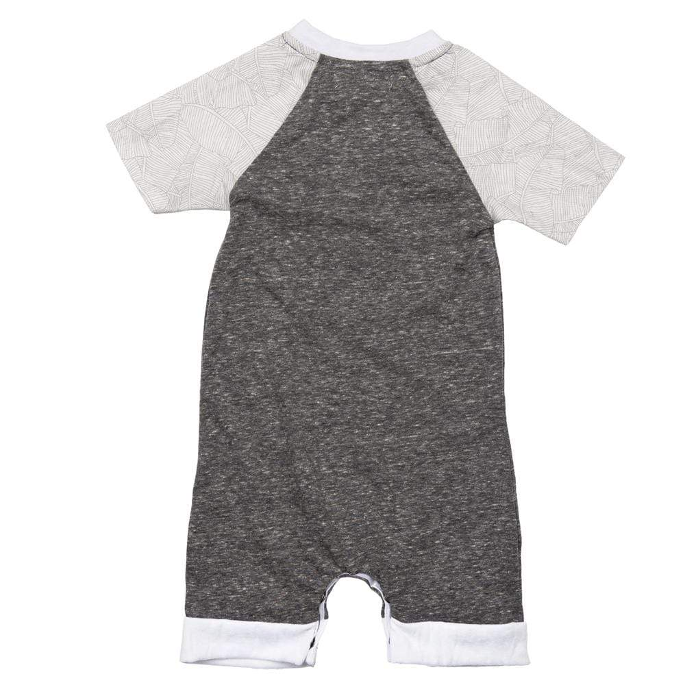 Layette Short Romper Grey Palm