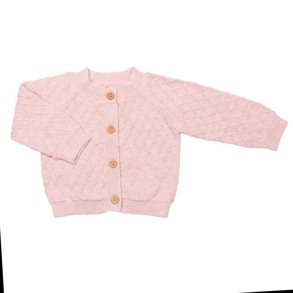 Layette Sweater Knit Cardigan Rose