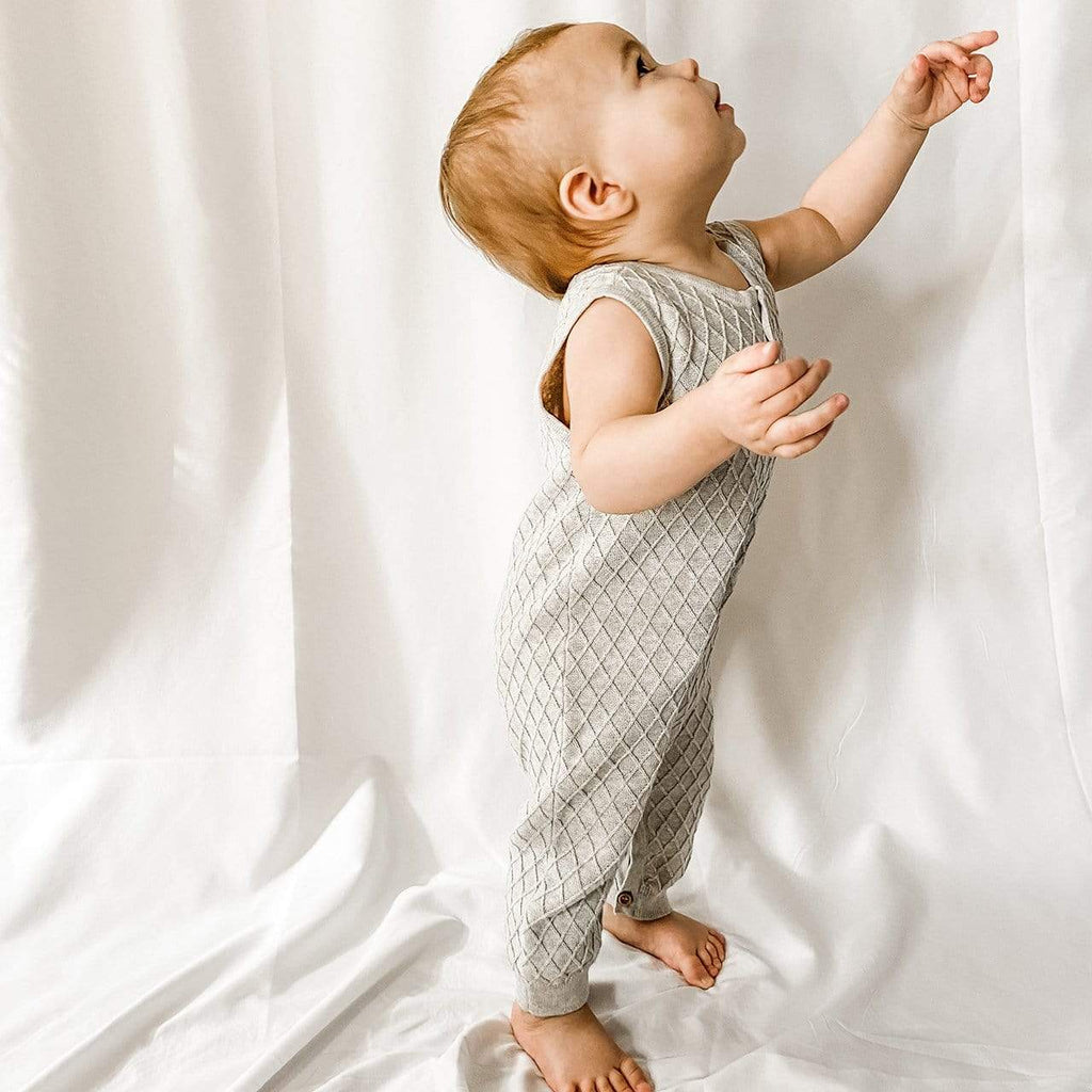 Layette Sweater Knit Romper Grey