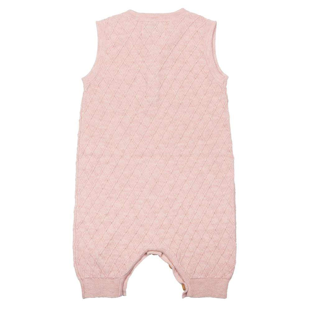 Layette Sweater Knit Romper Rose