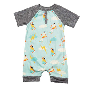 Little Boys Teddy Romper Skating in Heaven