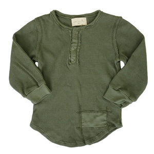 little dudes army green / 3m Parker Boys Henley Army Green