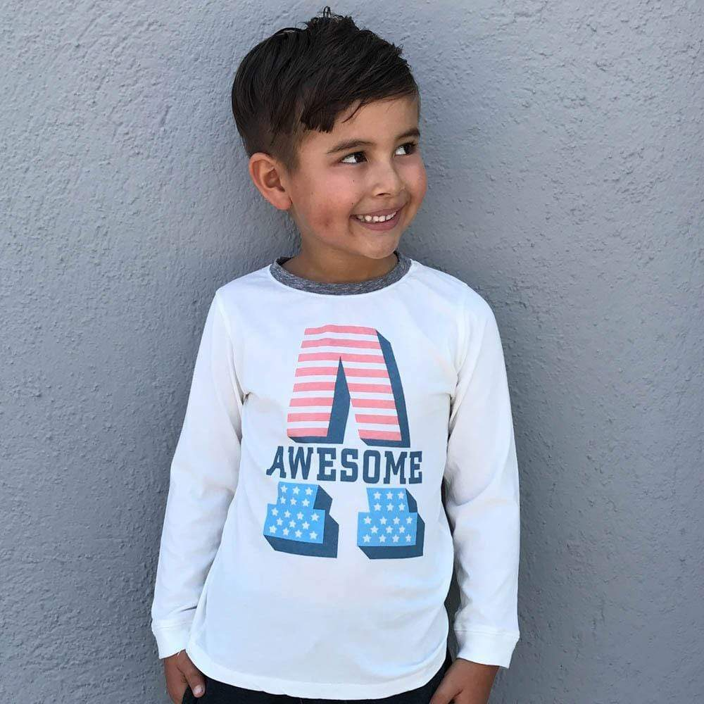 Little Dudes Awesome Boys Long Sleeve Tshirt