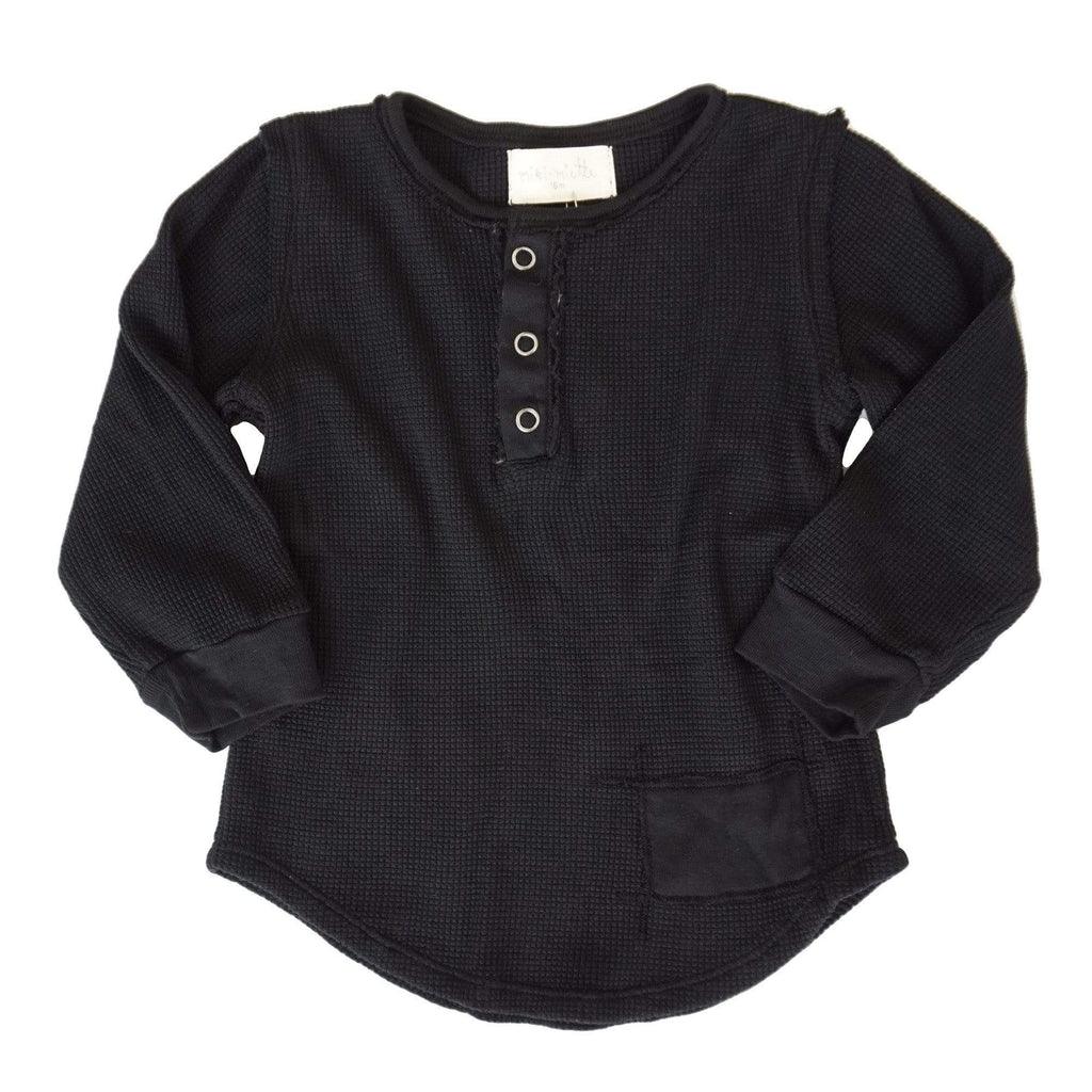 little dudes BLACK / 3m Parker Boys Henley Black