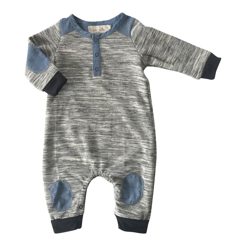 Little Dudes Logan Henley Romper Paper Moon