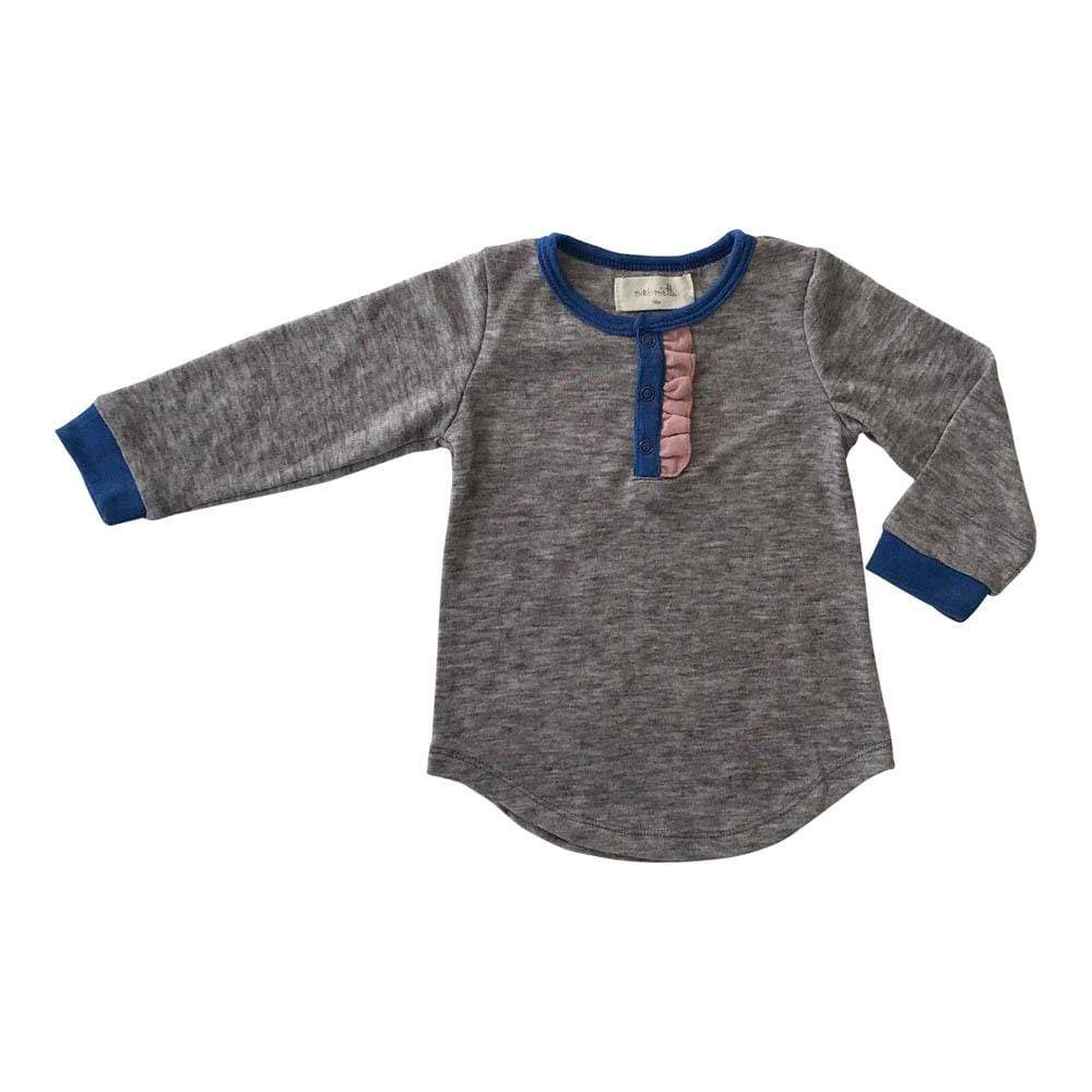 Little Gals Chrissie Long Sleeve Henley Cobalt