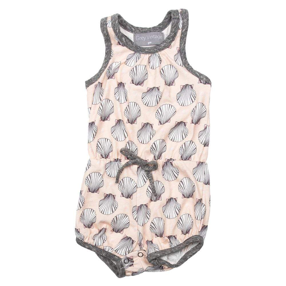 Little Gals Everly Bubble Romper Seashell