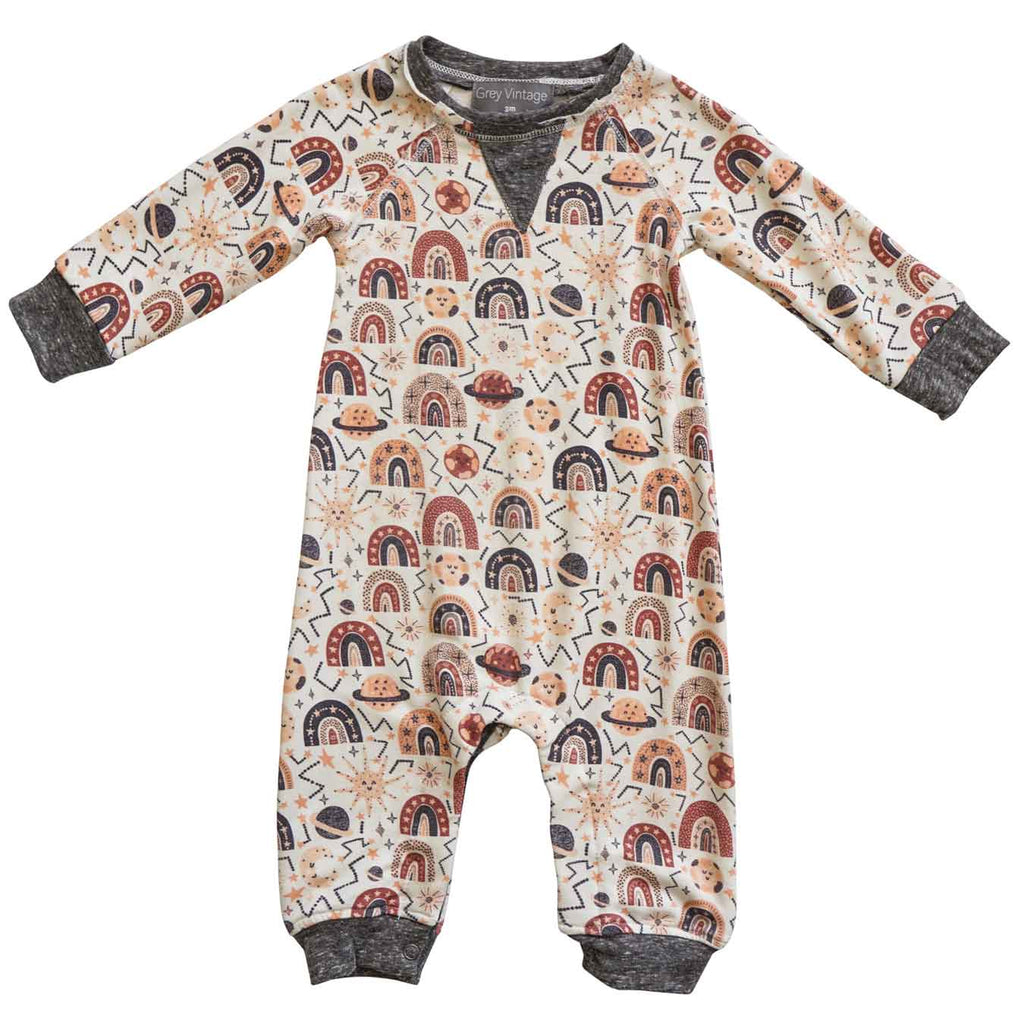 Little Gals Henry Romper Rainbow