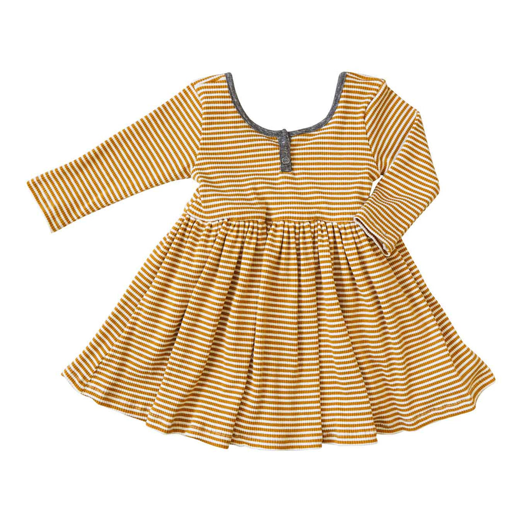 Little Gals Liv Dress Sugar Land Ochre Stripe