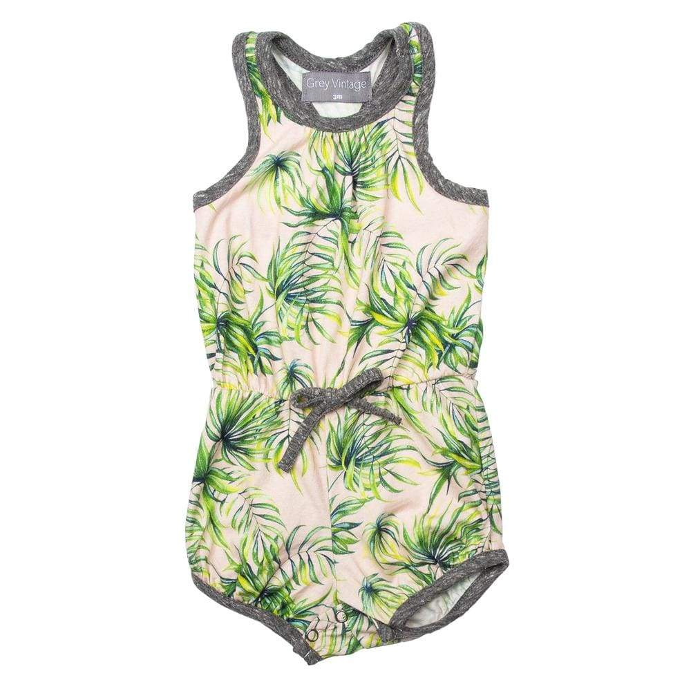 Little Gals PINK PALM / 3m Everly Bubble Romper Pink Palm