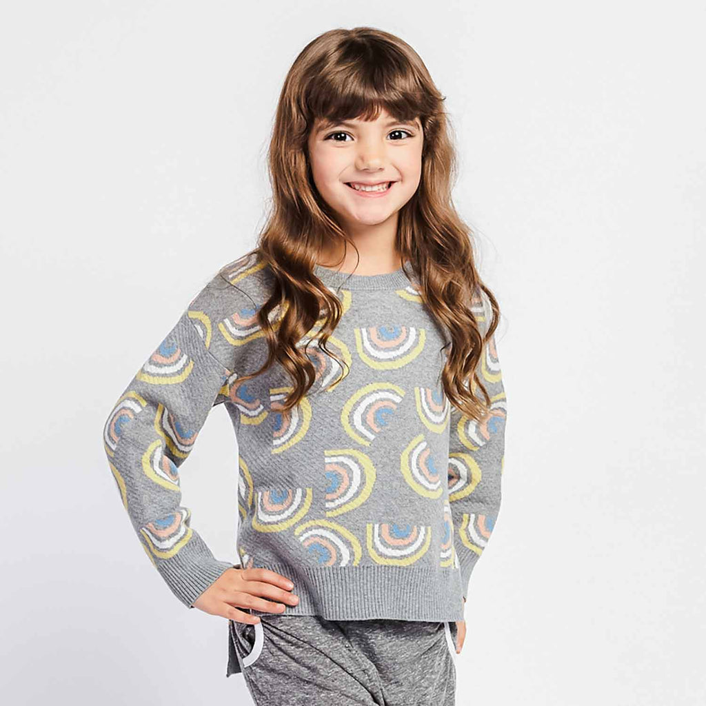 Little Gals Rowena Rainbow Hi-Low Sweater