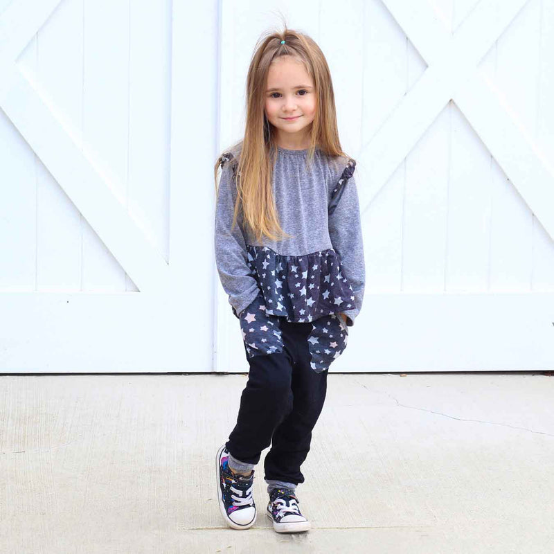 Little Gals Sunny Ruffle Top Galaxy