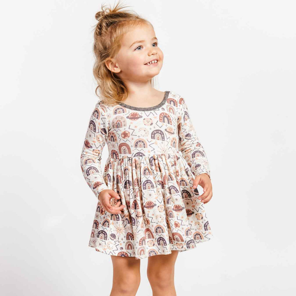 Little Gals Twirl Dress Rainbow
