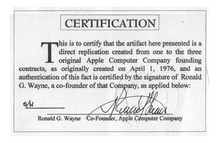 "Load image into Gallery viewer, Framed replica of the original ""Apple Computer Company"" contract"