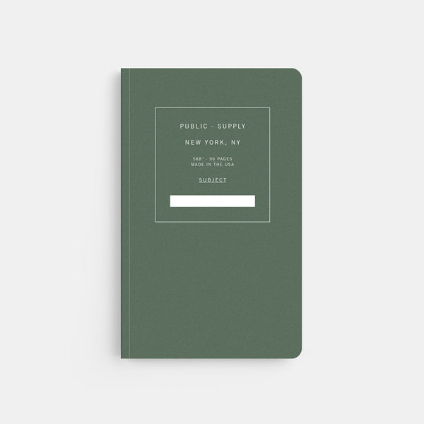 Public Supply 5 x 8 Green Soft Cover Notebook