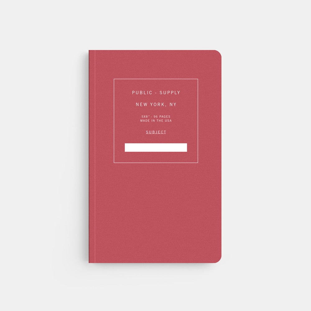 Public Supply 5 x 8 Red Soft Cover Notebook