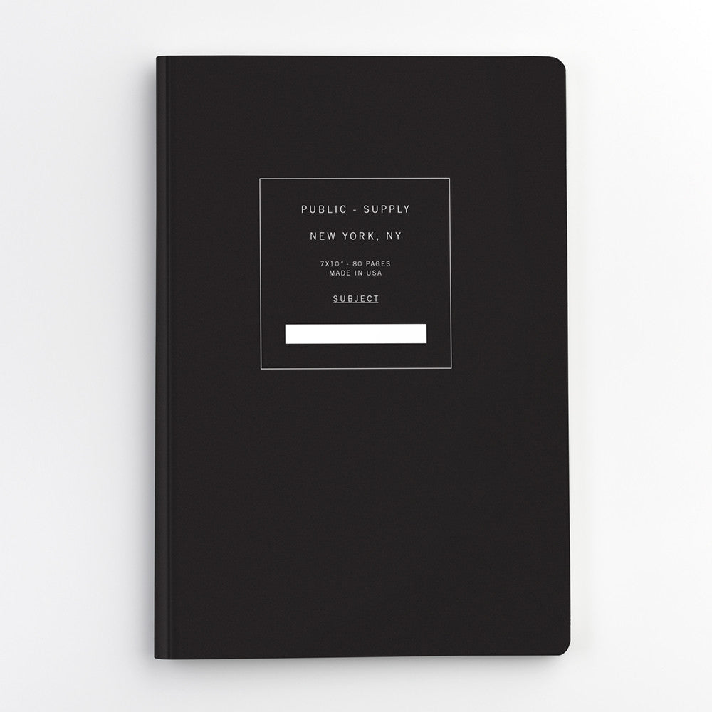 Public Supply 7 x 10 Black Soft Cover Notebook