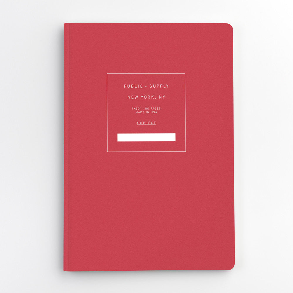 Public Supply 7 x 10 Red Soft Cover Notebook