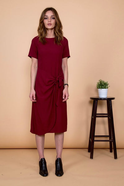 Otis & Maclain Bordeaux Autumn Wrap Dress