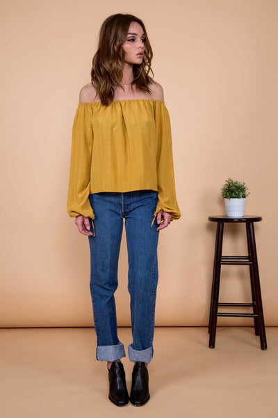 Otis & Maclain Georgia Top in Mustard Stripe