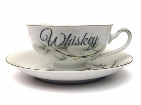 Whiskey Altered Vintage Teacup and Saucer
