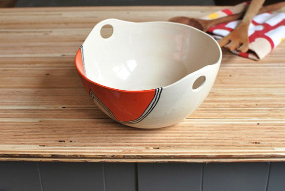 Orange Houses Handled Serving Bowl