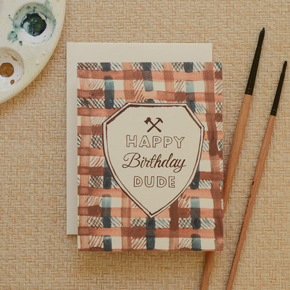 Plaid Happy Birthday Dude Card