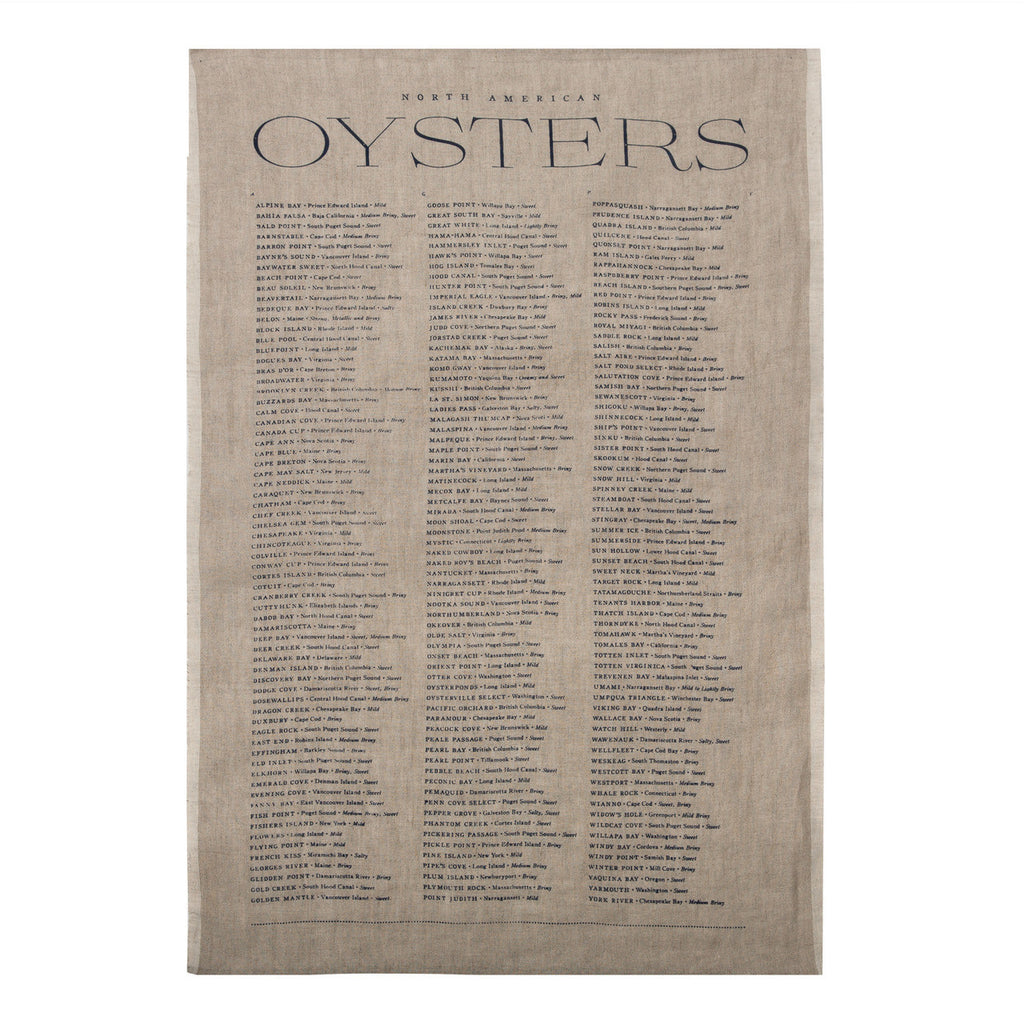 Oyster List Tea Towel in Indigo
