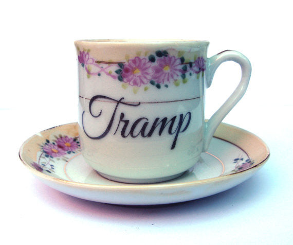 Tramp Altered Vintage Espresso Cup & Saucer