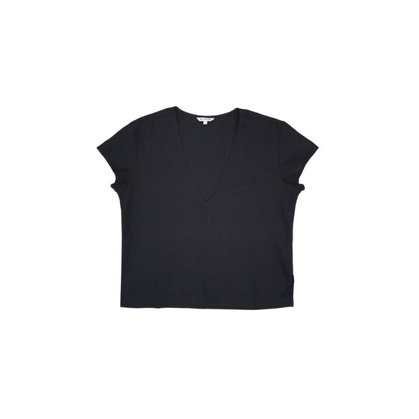 Ali Golden V-Neck Top in Black