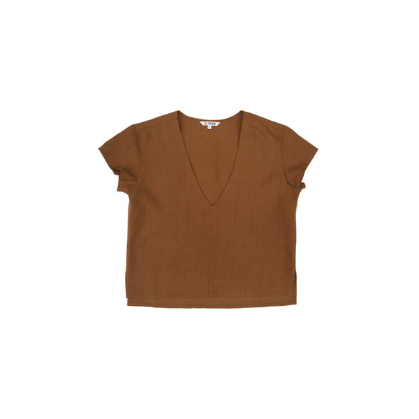 Ali Golden V-Neck Top in Rust