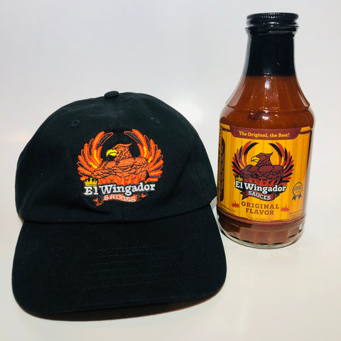 El Wingador Sauces Hat & 16oz Bottle Combo