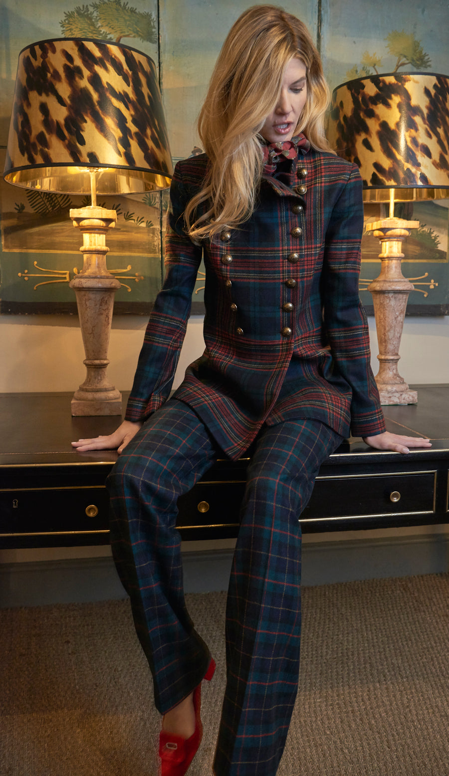 Military Jacket Red Tartan