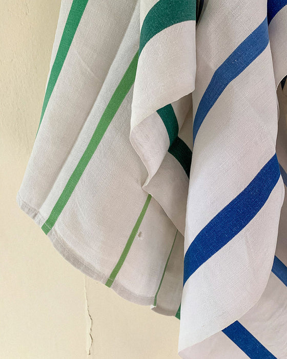 Vintage French Linen Striped Hand Towels