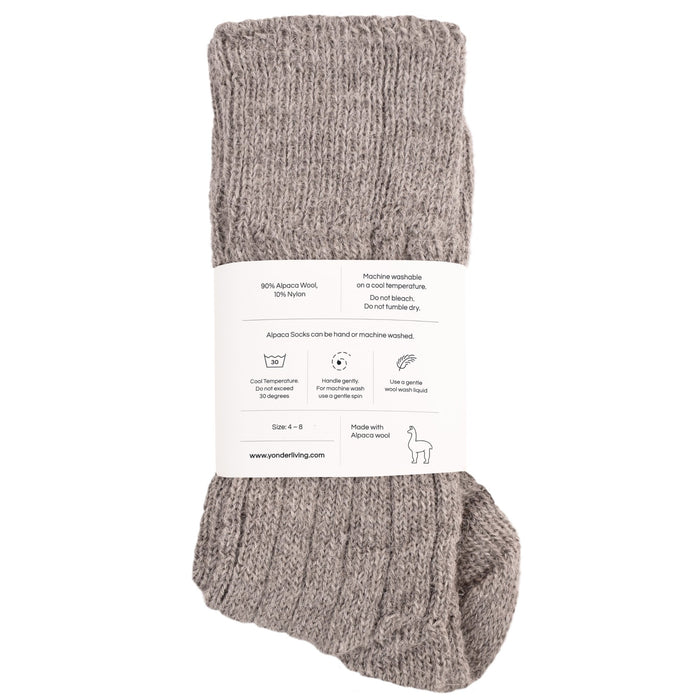 Alpaca Bed Socks - pale grey