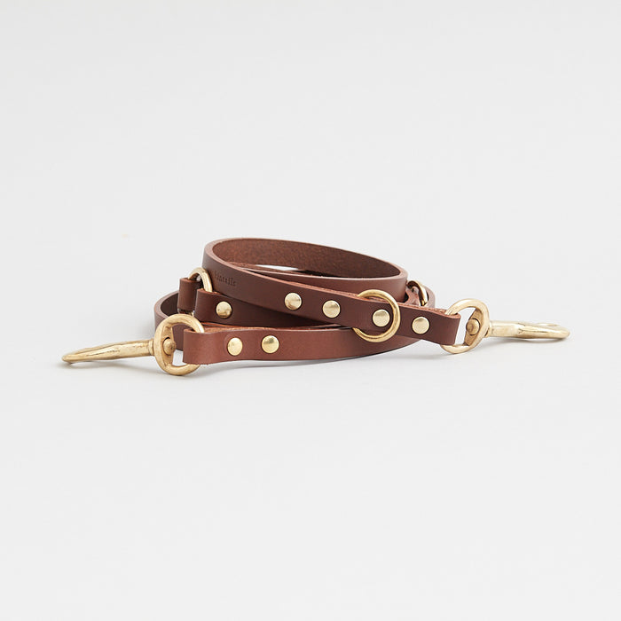 ADJUSTABLE LONG LEATHER DOG LEAD