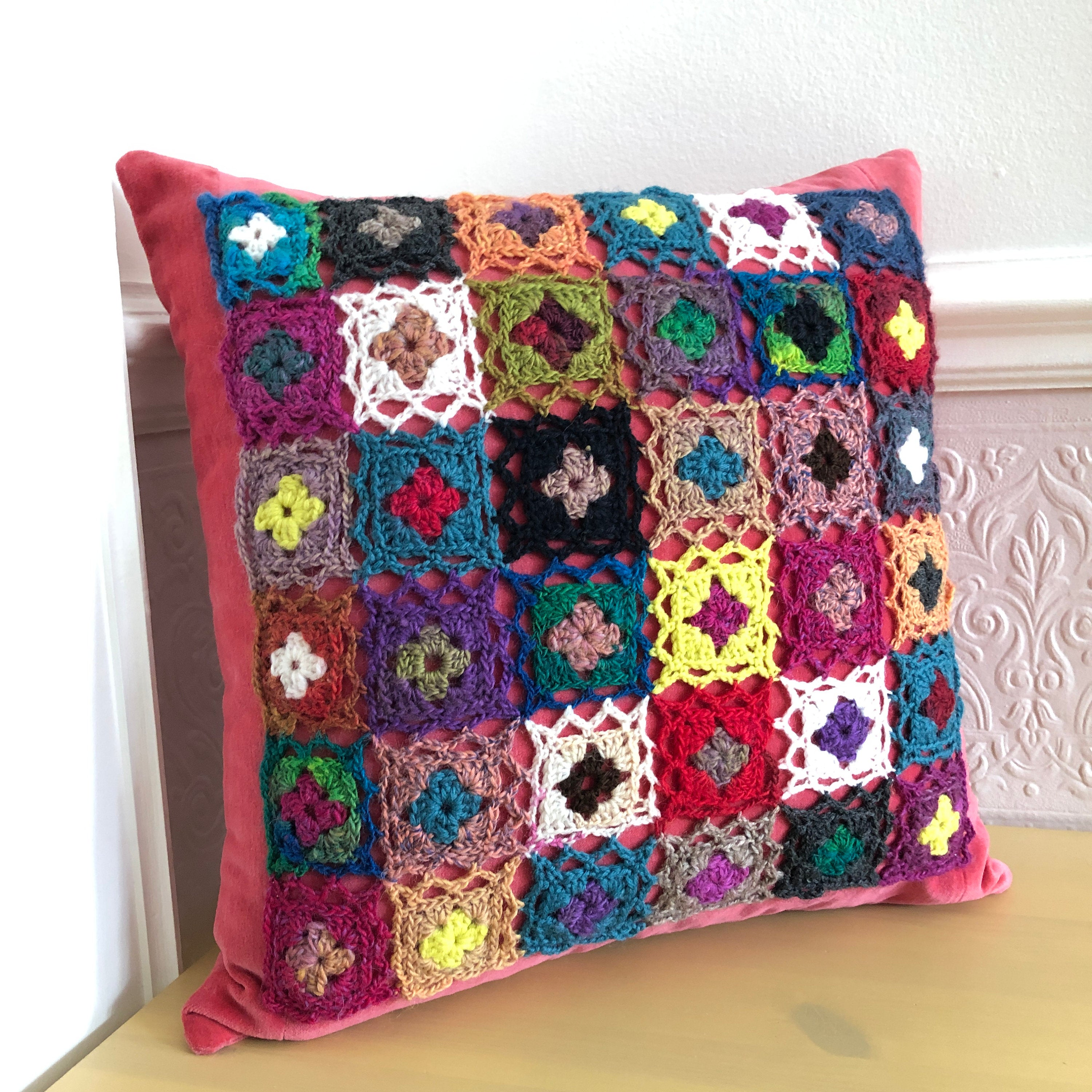 Pillow Cover with Crocheted Decor