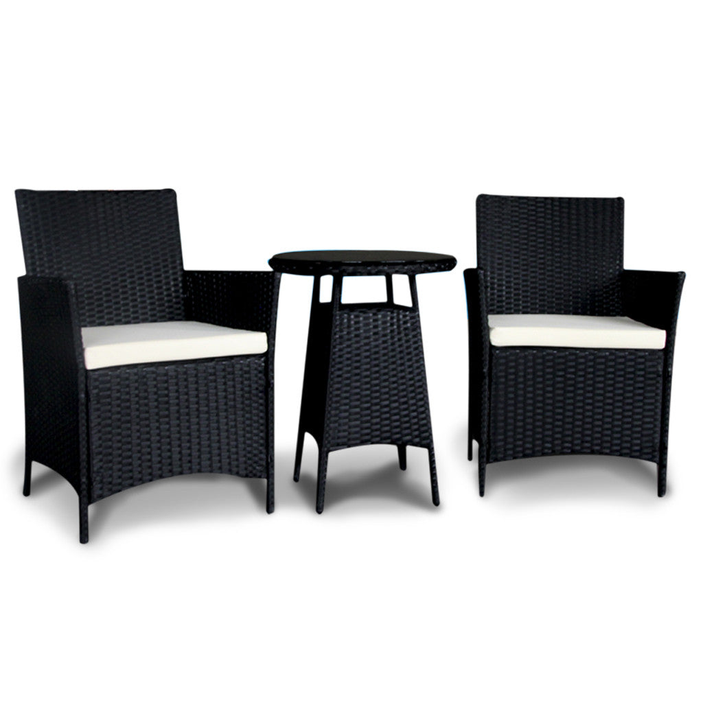 Royal Bistro Collection - 3 Piece Rattan Wicker Patio Set (Black) - Royal Bistro Collection - 3 Piece Rattan Wicker Patio Set (Black