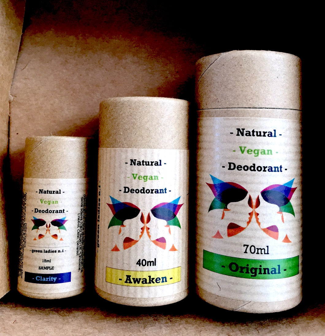 All Of One Size 70ML, 40ML & 15ML  Vegan Friendly Natural Deodorant - All Size Pack