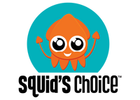 Logo for Squid's Choice site featuring Sammy the Squid, a smiling orange squid mascot